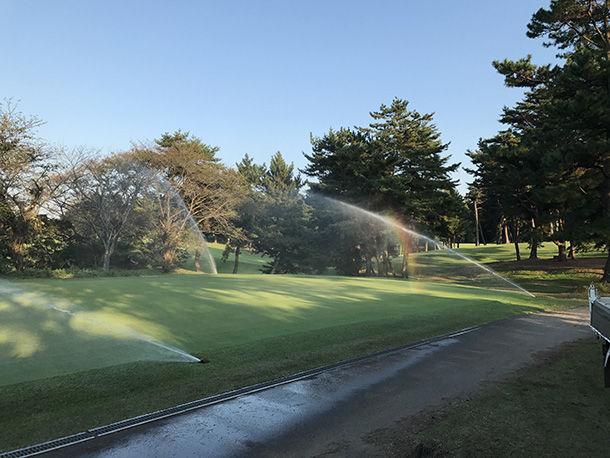 「ビール酵母細胞壁」を活用した農業資材を、ゴルフ場の芝に散布する様子